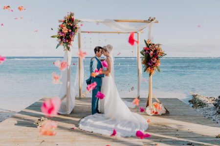 Tropical bamboo wedding altar for your elopement or destination wedding in Moorea